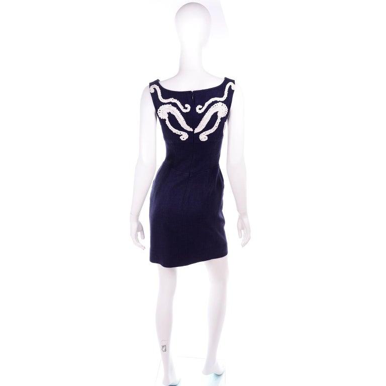 Women's 1993 Christian Lacroix Vintage Midnight Blue Dress W/ White Soutache Embroidery For Sale