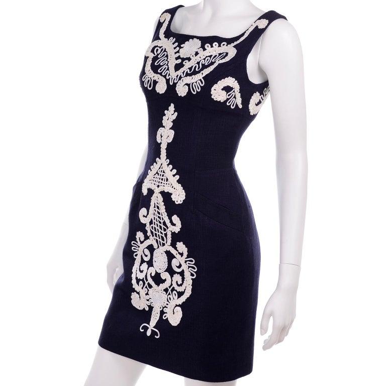 1993 Christian Lacroix Vintage Midnight Blue Dress W/ White Soutache Embroidery For Sale 2