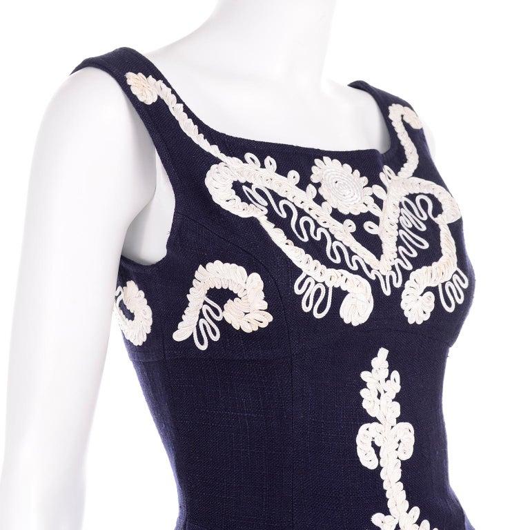1993 Christian Lacroix Vintage Midnight Blue Dress W/ White Soutache Embroidery For Sale 4