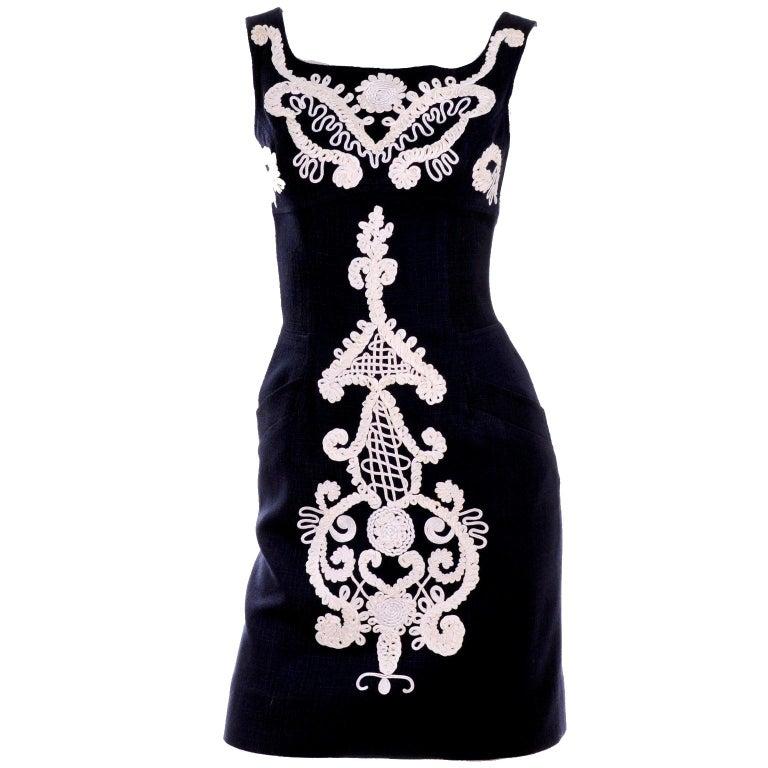 1993 Christian Lacroix Vintage Midnight Blue Dress W/ White Soutache Embroidery For Sale