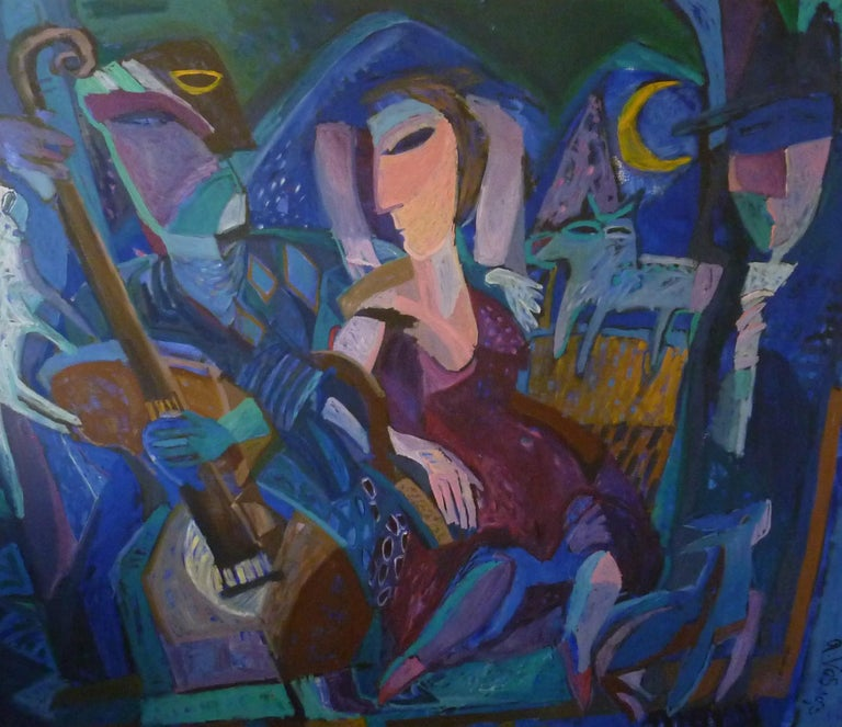 Big painting 204.5 x 174 cm by the Dutch artist Annemiek Vos from 1993 With a Jazz ensemble as a performance. Oil paint on canvas framed with a simple black wooden frame with silver leaf on the edges.  Annemiek Vos graduated in 1985 at the Minerva