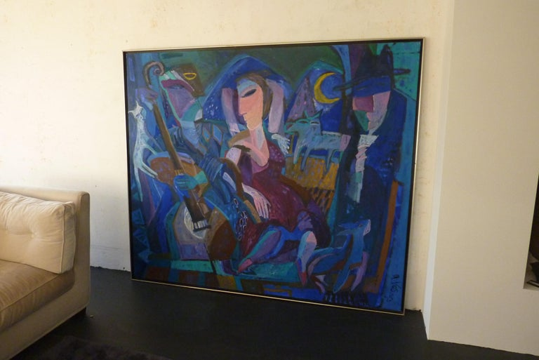 Dutch 1993 Contemporary Impressionist Painting of a Jazz Performance by Annemiek Vos For Sale