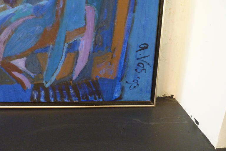 Painted 1993 Contemporary Impressionist Painting of a Jazz Performance by Annemiek Vos For Sale