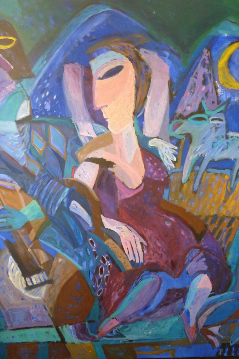 Late 20th Century 1993 Contemporary Impressionist Painting of a Jazz Performance by Annemiek Vos For Sale