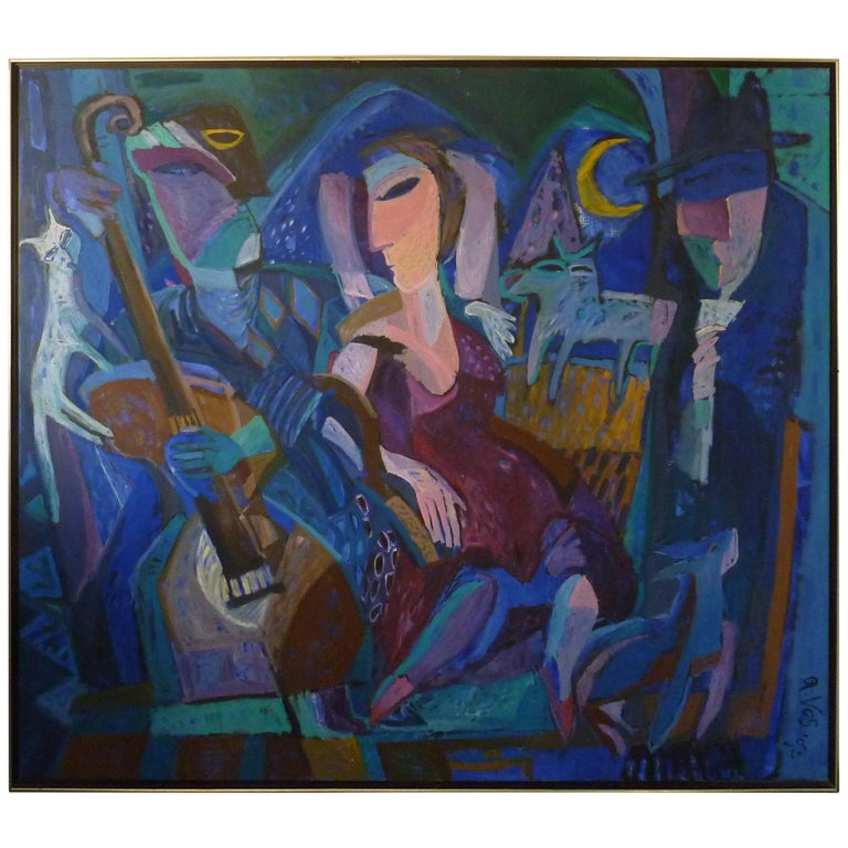 1993 Contemporary Impressionist Painting of a Jazz Performance by Annemiek Vos For Sale