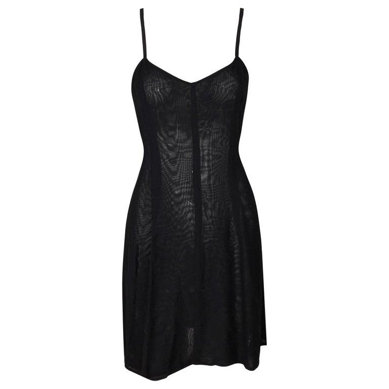 1993 Dolce & Gabbana Sheer Black Mini Slip Style Dress For Sale