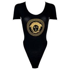 1993 Gianni Versace Black & Gold Embroidered Medusa Logo Bodysuit Top