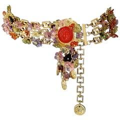 1993 GIANNI VERSACE Flower Medusa Medallion Tiered Belt