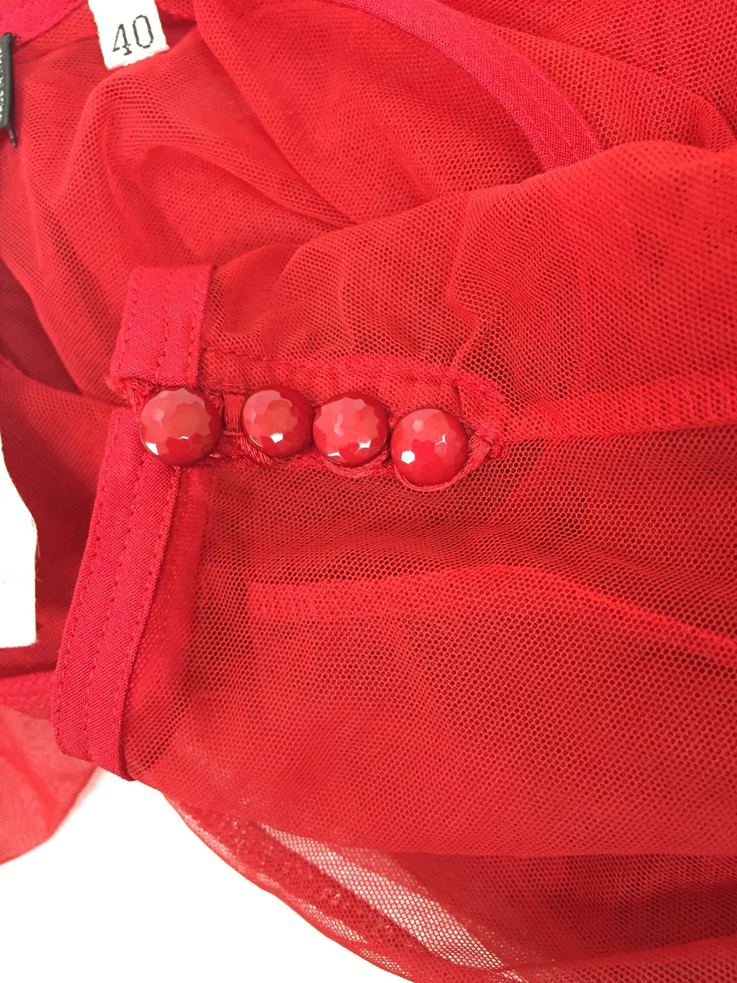 Gianni Versace Punk Red Fishnet L   S Bodysuit Top bf8de0069