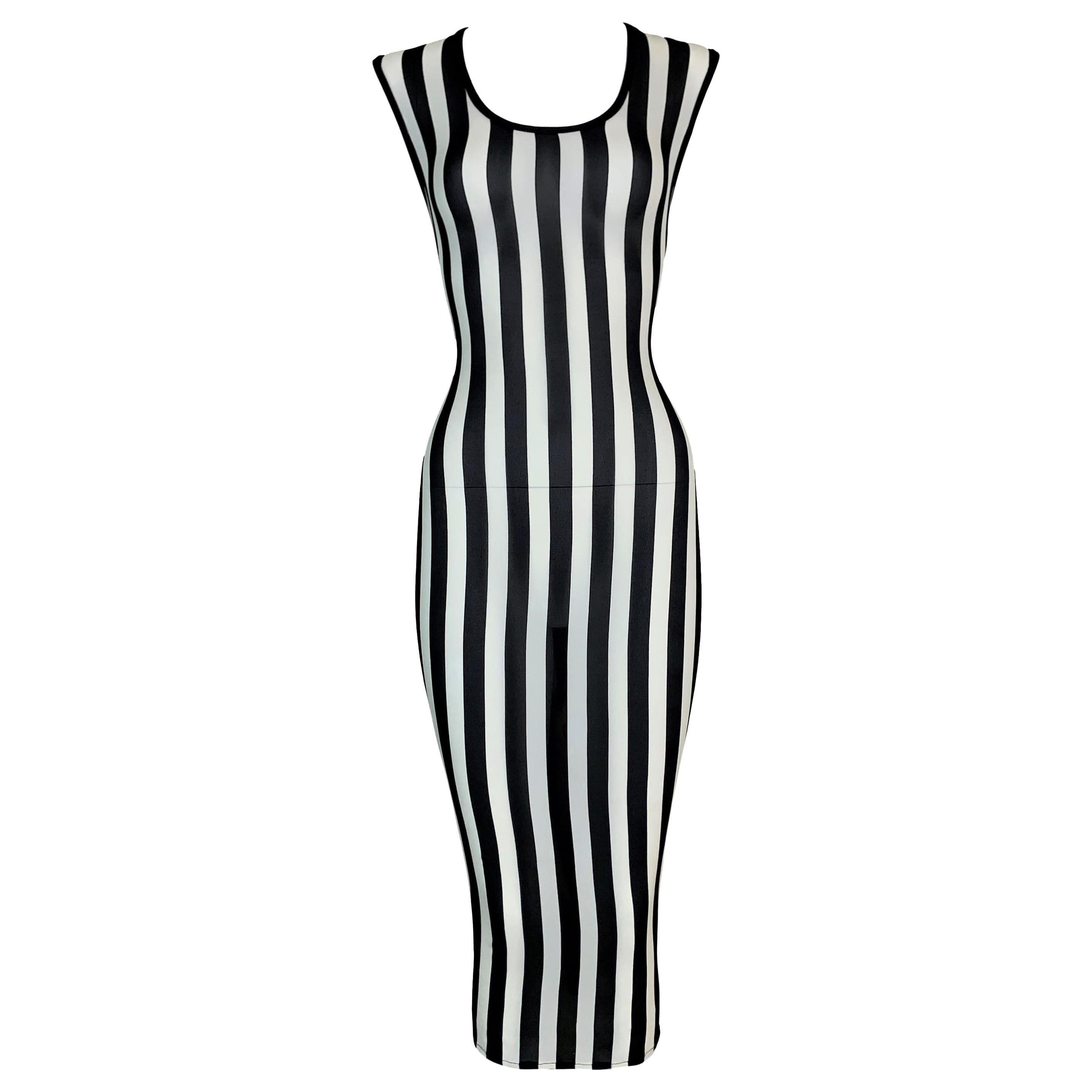 1993 Gianni Versace Sheer Stretch Silk Black & White Striped Wiggle Dress 44