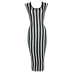 1993 Gianni Versace Sheer Stretch Silk Black & White Striped Wiggle Dress 44