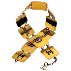 1993 Iconic CHANEL Address Logo Plate Link Belt