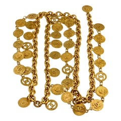 1993 ICONIC CHANEL Logo Coin Medallion Charm Multi Layer Chain Necklace Belt