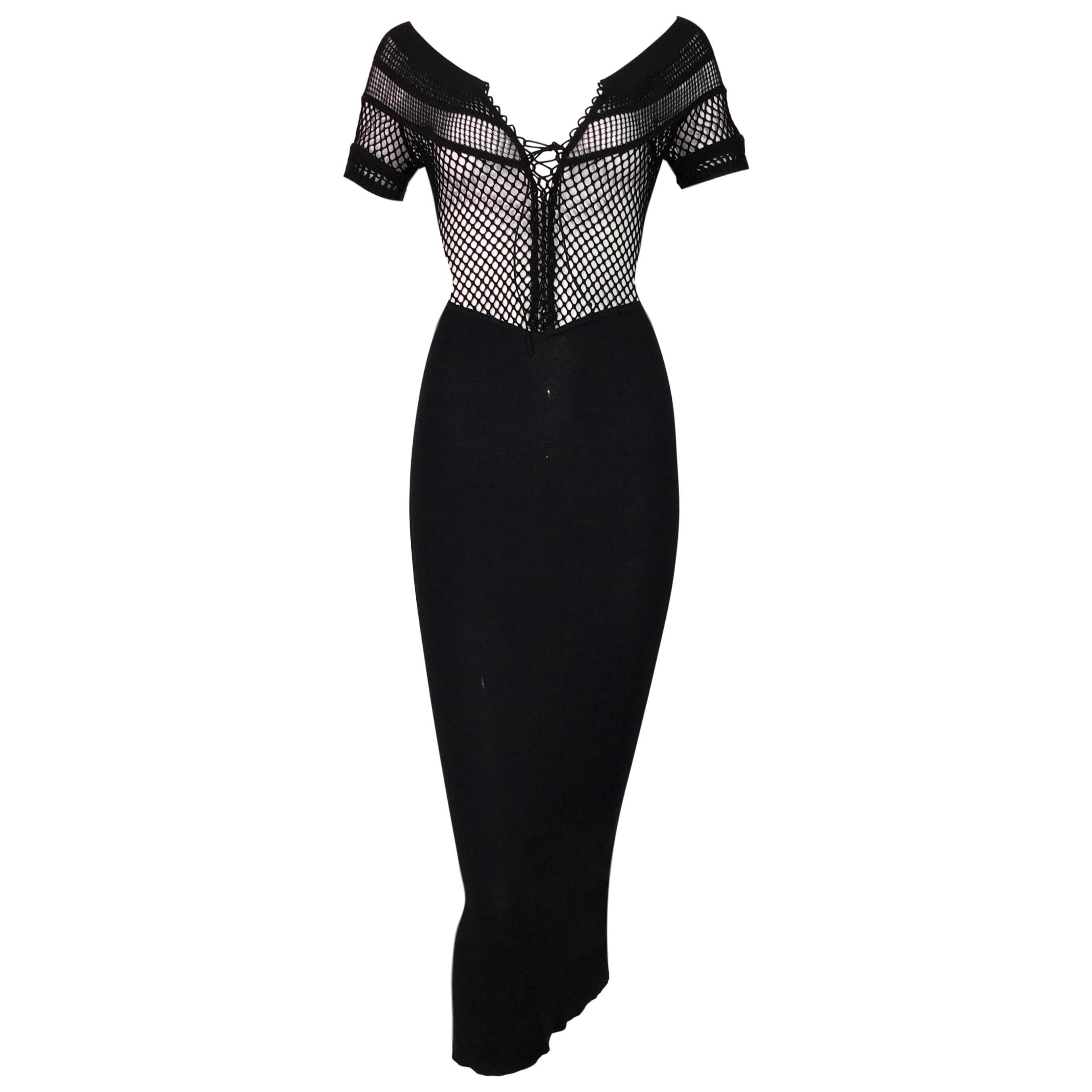 1993 Jean Paul Gaultier Sheer Black Fishnet Mesh Bodycon Wiggle Long Dress