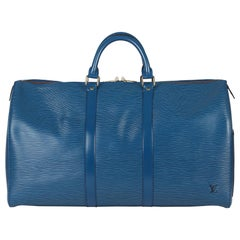 1993 Louis Vuitton Blue Epi Leather Vintage Keepall 55