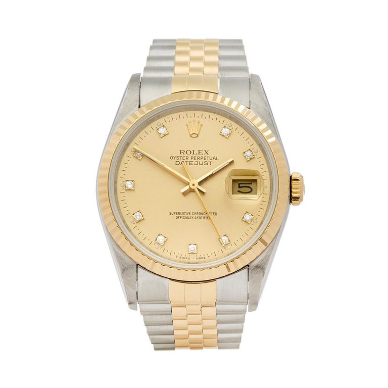 45a16cab78e 1993 Rolex Datejust Steel and Yellow Gold 16233 Wristwatch at 1stdibs