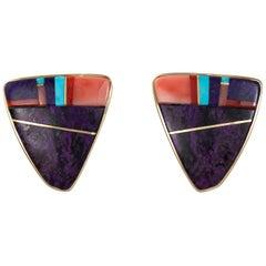 1993 Verma Nequatewa 'Sonwai' Sugilite, Coral, Turquoise and Gold Earrings