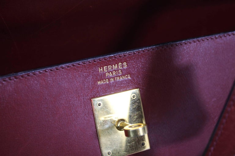 1993 Vintage Red Hermes Kelly 35 Sellier with Shoulder Strap For Sale 2