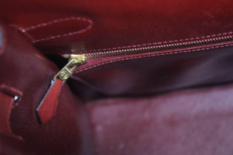1993 Vintage Red Hermes Kelly 35 Sellier with Shoulder Strap For Sale 3