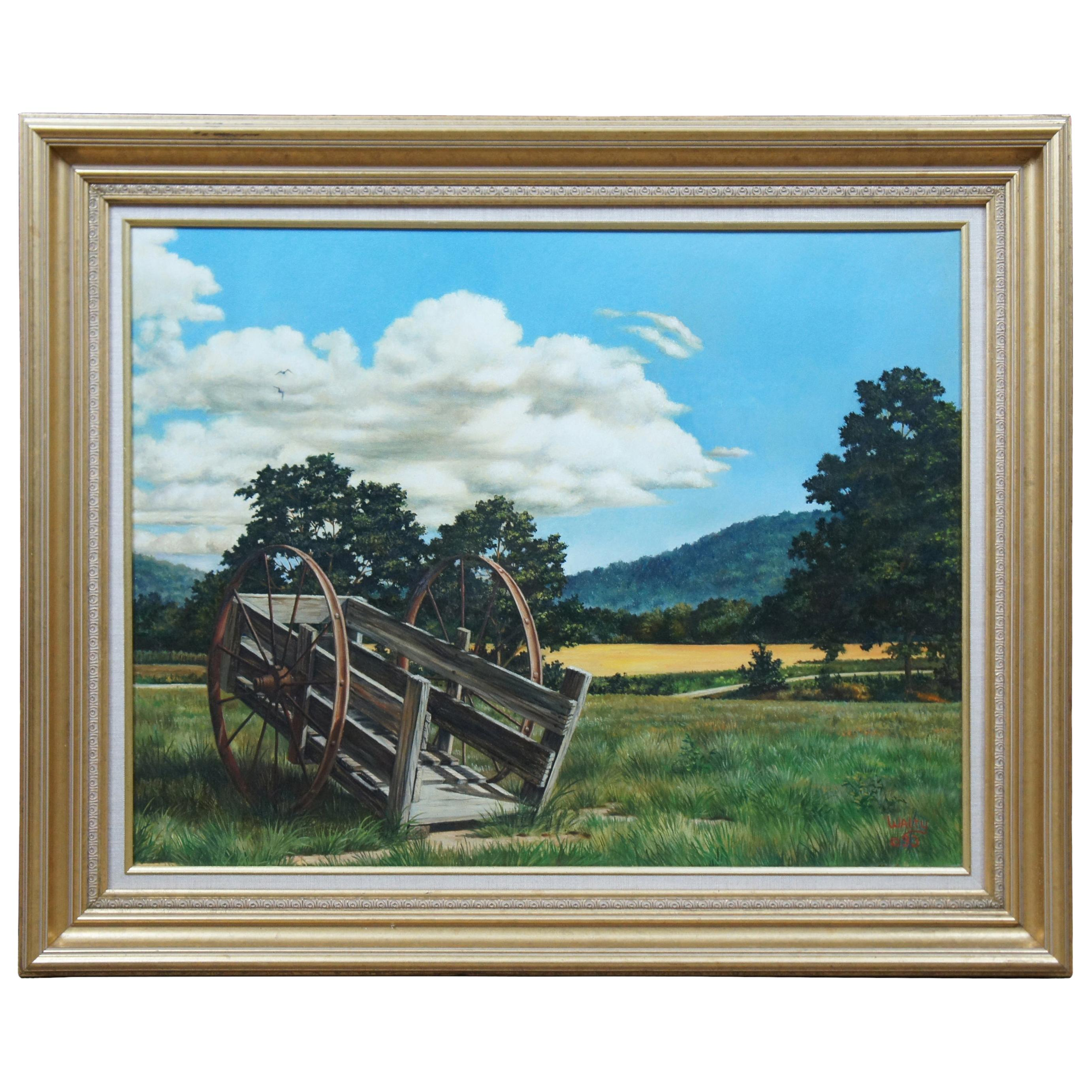 1993 Walty Signed Oil Painting on Canvas Countryside Landscape Wagon Realism