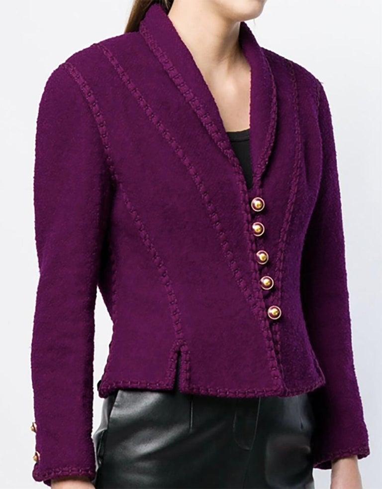 Women's 1993s Chanel Purple Tweed Boucle Jacket For Sale