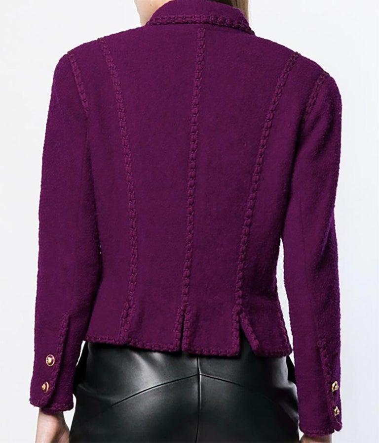 1993s Chanel Purple Tweed Boucle Jacket For Sale 1