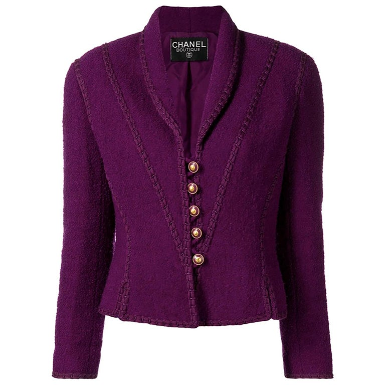 1993s Chanel Purple Tweed Boucle Jacket For Sale