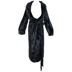 1994 Azzedine Alaia Chenille Faux Fur Plunging Black Robe Dress Coat