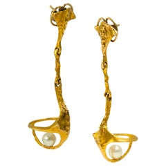 1994 Björn Weckstrom for Lapponia Pearl and Gold Earrings