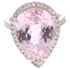 19.94 Carat Kunzite Diamond 14 Karat White Gold Cocktail Ring
