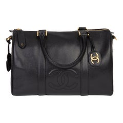 1994 Chanel Black Caviar Leather Vintage Boston 35
