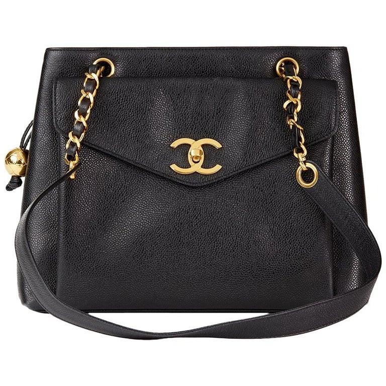 1994 Chanel Black Caviar Leather Vintage Classic Shoulder Bag For Sale e553579ee4360