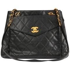 1994 Chanel Black Caviar Leather Vintage Classic Shoulder Bag