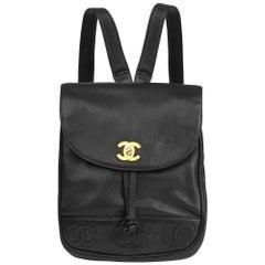 1994 Chanel Black Caviar Leather Vintage Logo Trim Classic Backpack