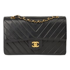 1994 Chanel Black Chevron Quilted Lambskin Vintage Medium Classic Double Bag