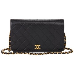 1994 Chanel Black Lambskin Vintage Small Classic Single Full Flap Bag
