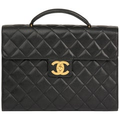 1994 Chanel Black Quilted Caviar Leather Jumbo XL Classic Briefcase