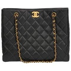 1994 Chanel Black Quilted Caviar Leather Vintage Classic Shoulder Bag