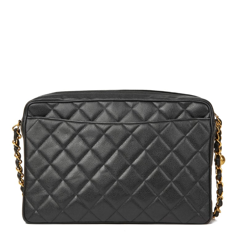 2e2a4ab4f10b Women's 1994 Chanel Black Quilted Caviar Leather Vintage Maxi Jumbo XL  Camera Bag For Sale