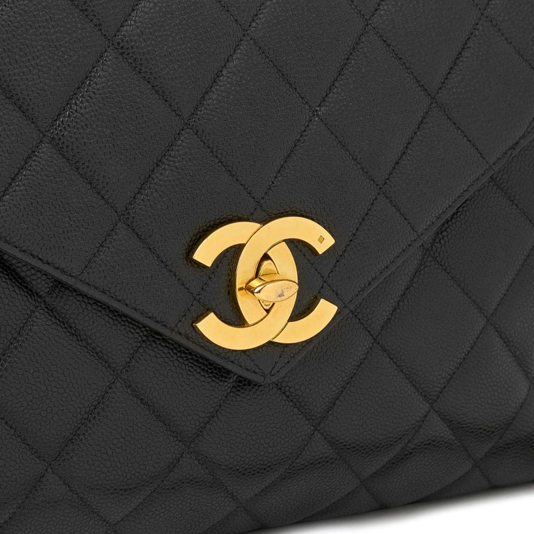 fe7048bfedaa 1994 Chanel Black Quilted Caviar Leather Vintage Maxi Jumbo XL Camera Bag  For Sale 2