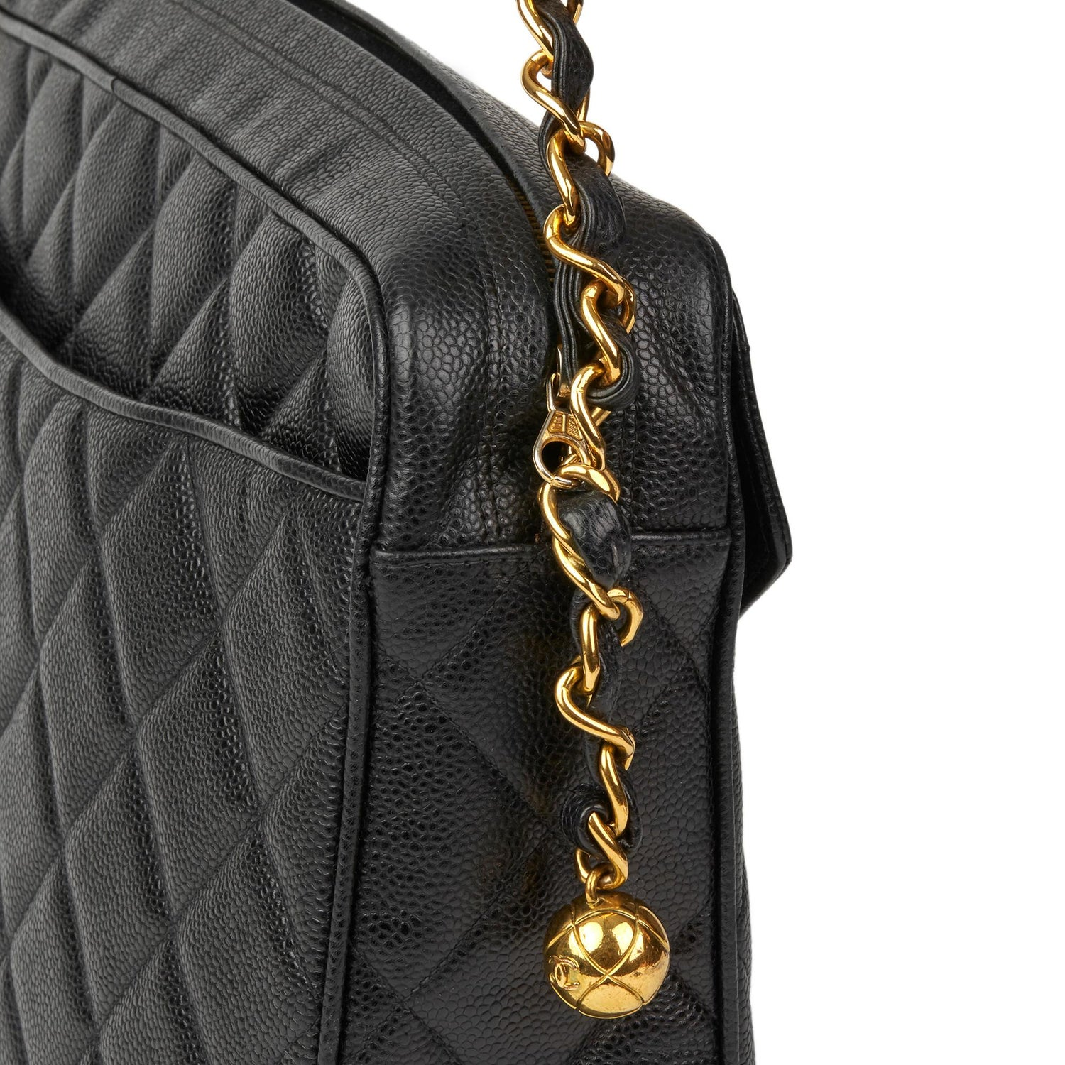 37dae2f1dda8 1994 Chanel Black Quilted Caviar Leather Vintage Maxi Jumbo XL Camera Bag  For Sale at 1stdibs