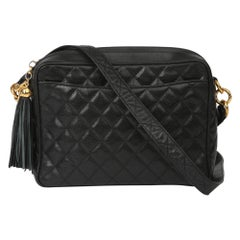 1994 Chanel Black Quilted Caviar Leather Vintage Timeless Camera Bag
