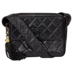 1994 Chanel Black Quilted Lambskin Vintage Leather Logo Fringe Shoulder Bag