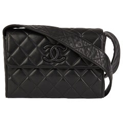 1994 Chanel Black Quilted Lambskin Vintage Leather Logo Shoulder Bag