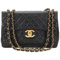 1994 Chanel Black Quilted Lambskin Vintage Maxi Jumbo XL Flap Bag