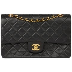 1994 Chanel Black Quilted Lambskin Vintage Medium Classic Double Flap Bag