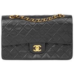 1994 Chanel Black Quilted Lambskin Vintage Medium Classic Double Flap
