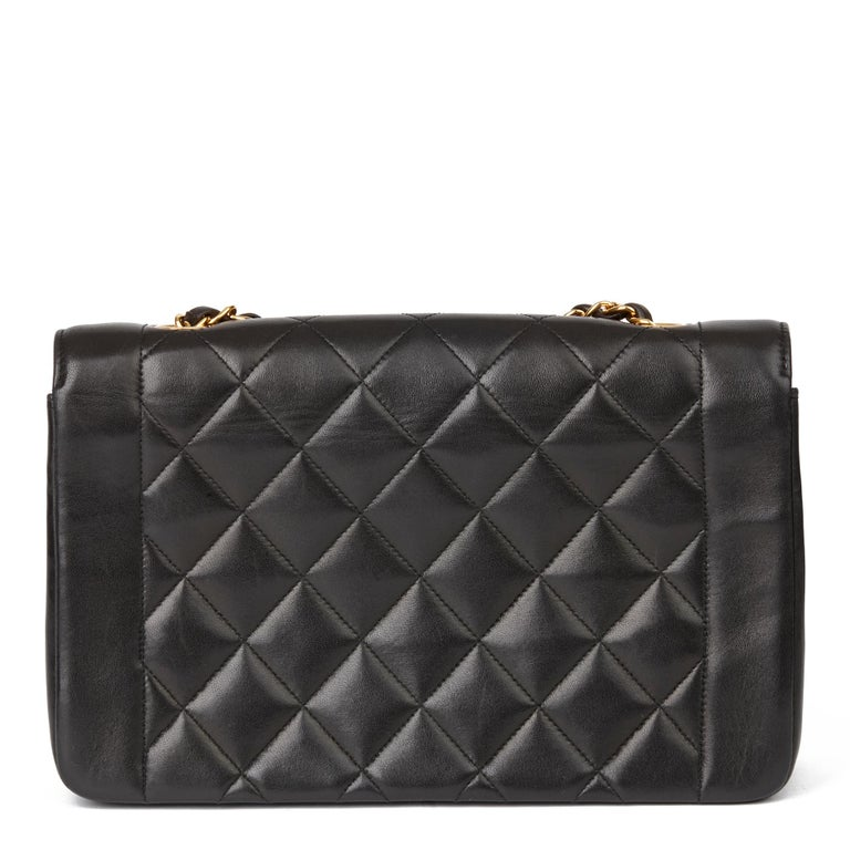 1994 Chanel Black Quilted Lambskin Vintage Medium Diana Classic Single Flap Bag  For Sale 1