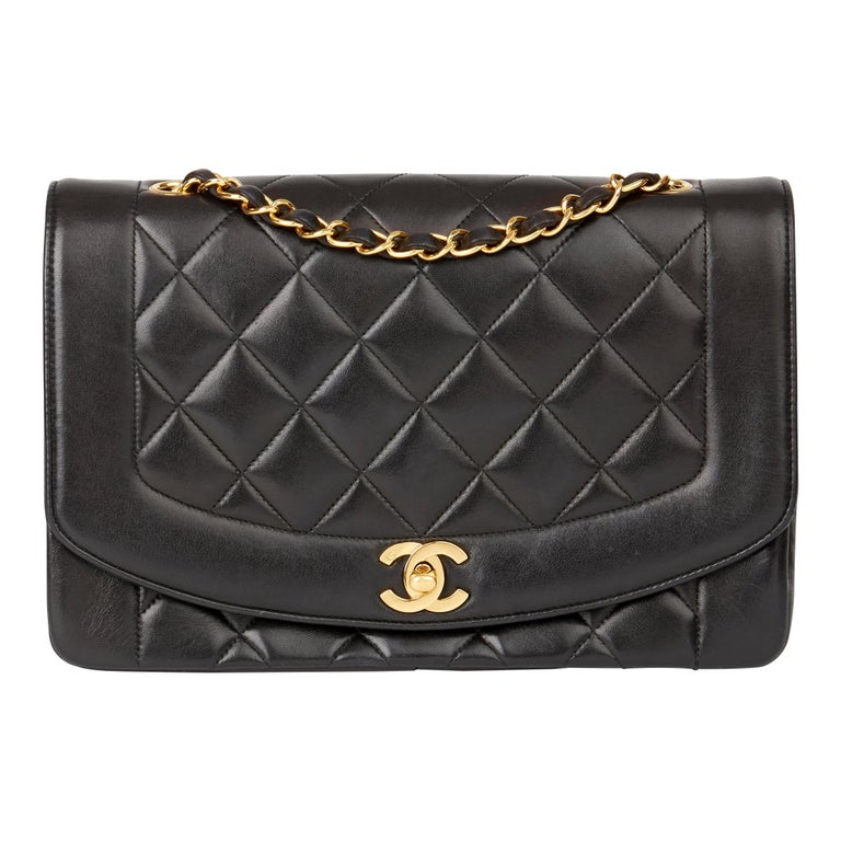 1994 Chanel Black Quilted Lambskin Vintage Medium Diana Classic Single Flap Bag  For Sale