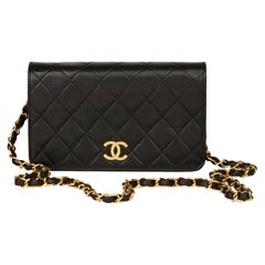 1994 Chanel Black Quilted Lambskin Vintage Mini Flap Bag